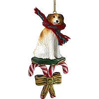 Borzoi Candy Cane Ornament
