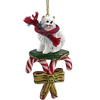 American Eskimo Miniature Candy Cane Ornament