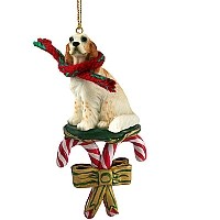 English Setter Belton Orange Candy Cane Ornament