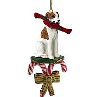 Whippet Brindle & White Candy Cane Ornament