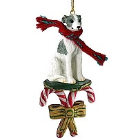 Whippet Gray & White Candy Cane Ornament
