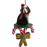 Bearded Collie Candy Cane Ornament