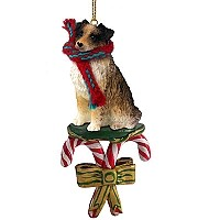 Australian Shepherd Brown Candy Cane Ornament