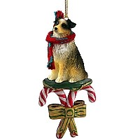 Australian Shepherd Brown w/Docked Tail Candy Cane Ornament