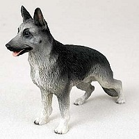 German Shepherd Black & Silver Standard Figurine