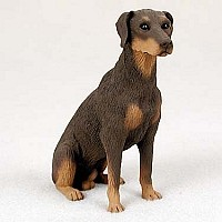 Doberman Pinscher Red w/Uncropped Ears Standard Figurine