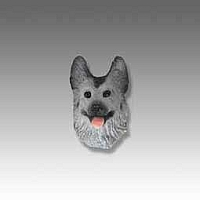 Silver & German Shepherd Black Tiny One head