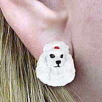 Poodle White Earrings Post