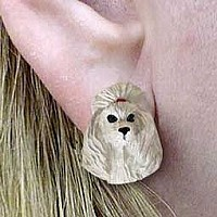 Poodle Gray Earrings Post