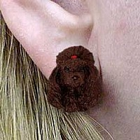 Poodle Chocolate Earrings Post