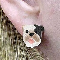 Bulldog Brindle Earrings Post