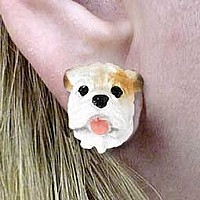 Bulldog White Earrings Post