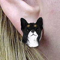 Chihuahua Black & White Earrings Post