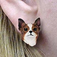 Chihuahua Brindle & White Earrings Post