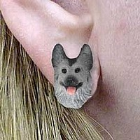 Silver & German Shepherd Black Earrings Post