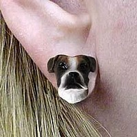 Boxer Brindle Uncropped Earrings Post