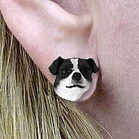 Jack Russell Terrier Black & White w/Smooth Coat Earrings Post