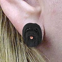 Lhasa Apso Black Earrings Post