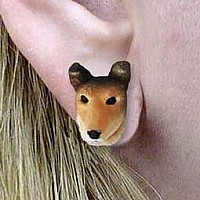 Collie Smoth Hair Earrings Post