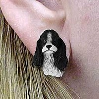 Cocker Spaniel Black & White Earrings Post