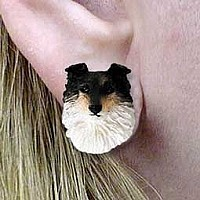 Sheltie Tricolor Earrings Post