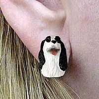 Springer Spaniel Black & White Earrings Post