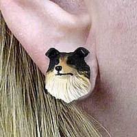 Collie Tricolor Earrings Post