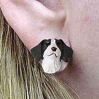Brittany Liver & White Spaniel Earrings Post