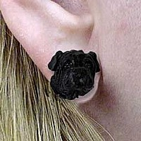 Shar Pei Black Earrings Post