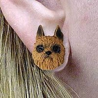 Brussels Griffon Red Earrings Post