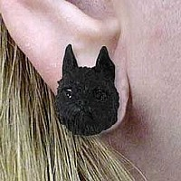 Brussels Griffon Black Earrings Post
