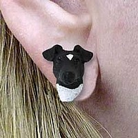 Fox Terrier Black & White Earrings Post