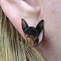 Miniature Pinscher Tan & Black Earrings Post