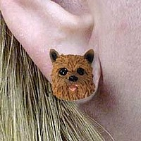 Norwich Terrier Earrings Post