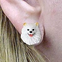 American Eskimo Miniature Earrings Post