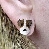 Whippet Brindle & White Earrings Post