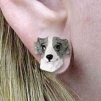 Whippet Gray & White Earrings Post