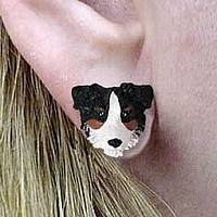 Australian Shepherd Tricolor w/Docked Tail Earrings Post