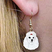 Poodle White Earrings Hanging