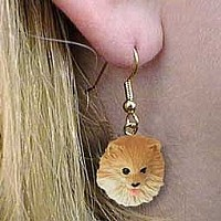 Pomeranian Red Earrings Hanging