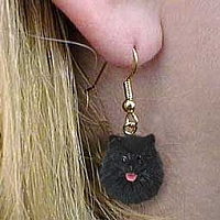 Pomeranian Black Earrings Hanging