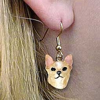 Chihuahua Tan & White Earrings Hanging