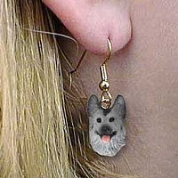 Silver & German Shepherd Black Earrings Hanging