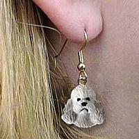 Poodle Gray w/Sport Cut Earrings Hanging