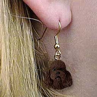 Poodle Chocolate w/Sport Cut Earrings Hanging