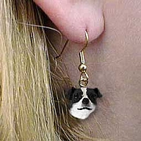 Jack Russell Terrier Black & White w/Smooth Coat Earrings Hanging