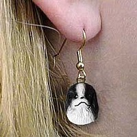 Japanese Chin Black & White Earrings Hanging