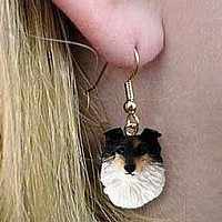 Sheltie Tricolor Earrings Hanging