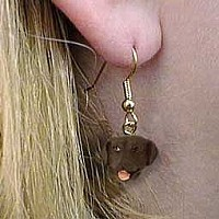 Labrador Retriever Chocolate Earrings Hanging