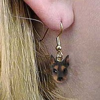 Doberman Pinscher Red w/Cropped Ears Earrings Hanging